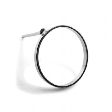 Rhodium Plated Hoop Stud Earring 12mm x 13mm x 10 pcs